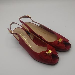 Salvatore Ferragamo red leather pep toe heels